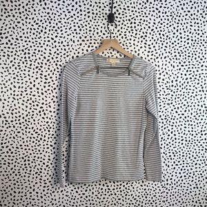 Michael Kors striped gray zipper collar blouse